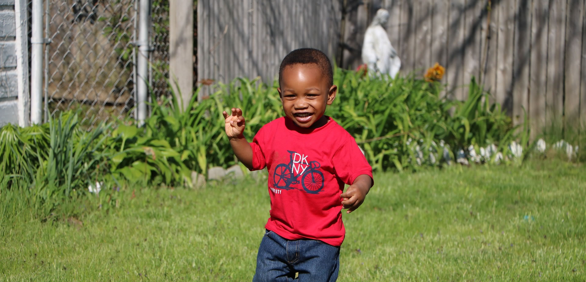 Young boy playing